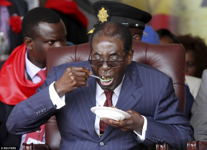 President Robert Mugabe marked his 92nd birthday with a lavish party and a huge cake in a drought-stricken area of Zimbabwe on Saturday