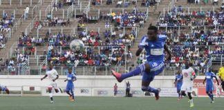 HIGH-FLYER . . . Dynamos young winger Musa Madhiri fires towards the goal in his debut appearance for DeMbare in yesterday's international friendly match against Kabwe Warriors of Zambia at Rufaro where he also scored from the penalty spot. — (Picture by Innocent Makawa)