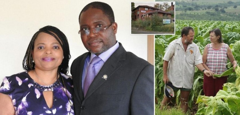 White Zimbabwean farming family are handcuffed and frogmarched off their land to make way for a black British doctor who runs a slimming clinic in Nottingham and whose wife is friend of Mugabe