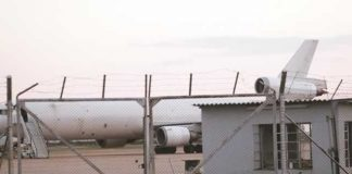 The Western Global Airlines cargo plane impounded by security services at the Harare International Airport yesterday after the handling staff discovered a bleeding corpse aboard