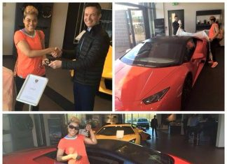 Pictures released on social media show Beverly Angel receiving keys to a Lamborghini Aventador.