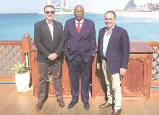 ELITE COMPANY . . . ZIFA president Philip Chiyangwa (centre) meets Fifa presidential candidate, Prince Ali of Jordan (left) and his campaign manager Jim Elis in Dubai yesterday