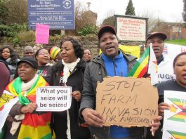 Encouraged by widespread coverage in the British press, more than 60 exiled Zimbabweans and supporters last Friday took part in a protest outside a clinic in Nottingham run by a Zimbabwean immigrant doctor who has seized one of the last white-owned farms in Zimbabwe.