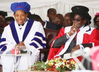 President Mugabe chats with Zimbabwe Ezekiel Guti University Chancellor Professor Ezekiel Guti at the official opening of the new institution in Bindura on Friday. — (Picture by Believe Nyakudjara)