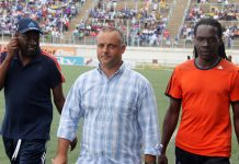Portuguese coach Jorge Paulo Silva seen with Lloyd Mutasa and Gift Muzadzi