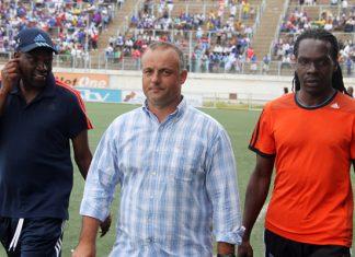 Portuguese coach Jorge Paulo Silva seen with Lloyd Mutasa and Gift Muzadzi