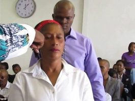 Priest Teddy Bantu prepares to carry out the exorcism - the woman claimed she was possessed by a snake