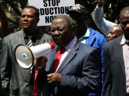 MDC-T president Morgan Tsvangirai during a demo demanding the location of missing activist Itai Dzamara
