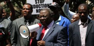 MDC-T president Morgan Tsvangirai during a demo demanding the location of missing activist Itai Dzamara