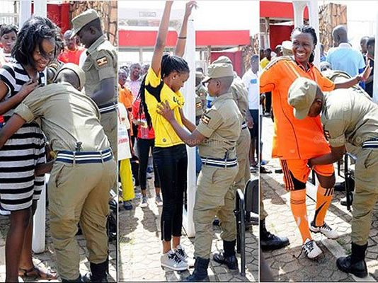 Photos of Ugandan police conducting body searches on fans entering a soccer stadium in the capital city of Kampala have gone viral on social media.