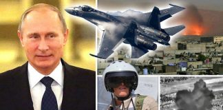 Vladimir Putin, left, and a Russian jet fighter