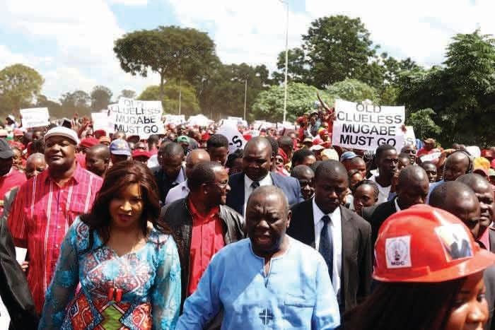 Leading from the front: Opposition leader Morgan Tsvangirai and his wife Elizabeth