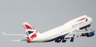 The British Airways flight from Geneva was hit as it approached the London airport at about 12:50 BST with 132 passengers and five crew on board.