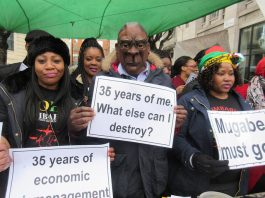 His Excellency, in the form of Fungayi Mabhunu in our Mugabe mask and carrying a poster reading '36 years of me. What else can I destroy?', answered some of our questions.