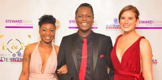 Former ZBC Radio and Television presenter Kevin Ncube (centre) with singer Gemma Griffiths (right) at the Zimbabwe Achievers Awards (Picture by E&N Designs Ltd)