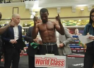 READY TO RUMBLE . . . Zimbabwe boxing ace Charles Manyuchi goes through the weigh in routine ahead of his massive fight in Russia