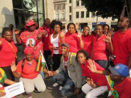 MDC activists at the Zimbabwe Vigil in London outside the Zimbabwe embassy