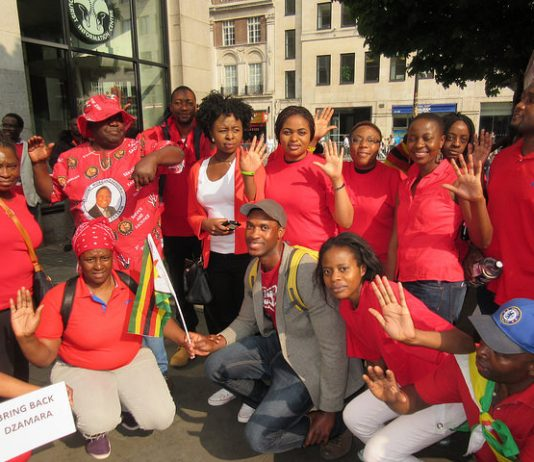 MDC activists at the Zimbabwe Vigil in London outside the Zimbabwe embassy