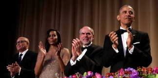 President Barack Obama applauds at the White House Correspondents' Association annual dinner in Washington. Photograph: Yuri Gripas/Reuters