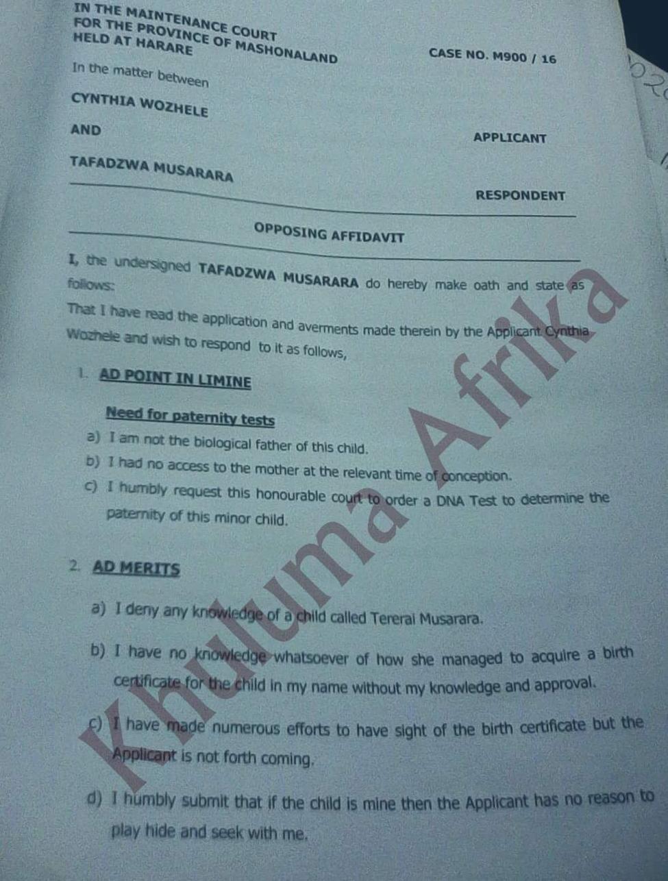 The opposing affidavit filed by Mr. Musarara