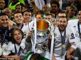 Real Madrid captain Ramos lifts the Champions League trophy