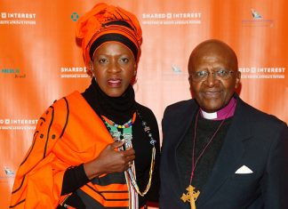 Reverend Mpho Tutu with Archbishop Desmond Tutu at an event in New York City in 2014