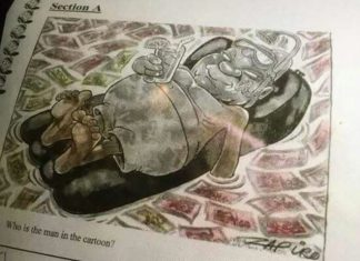 The cartoon of Mr Zuma was used in a question for grade six pupils