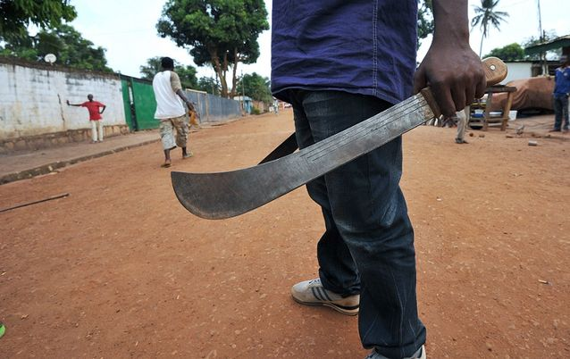 File picture of a man holding his machete