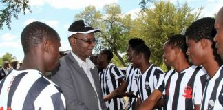 Higher and Tertiary Education, Science and Technology Development Minister Professor Jonathan Moyo seen here meeting Tsholotsho FC players