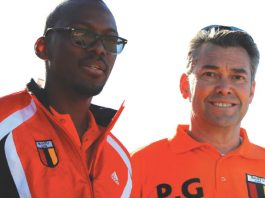 Peter Grieve (right) with Bantu Rovers general manager Wilbert Sibanda