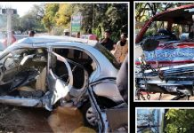The wreckages of the Nissan March and the Toyota Hiace which collided at the intersection of 12th Avenue extension and Park Road in Suburbs, Bulawayo