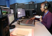 Diamond FM's presenter Charlene Mataure in the studio at recently launched Mutare station