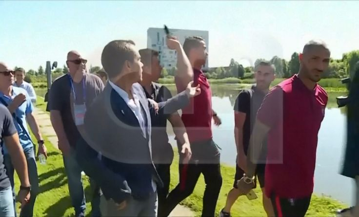 Ronaldo throws reporter's microphone into a river