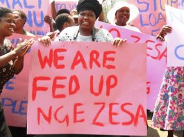 File picture of residents demonstrating against power utility ZESA