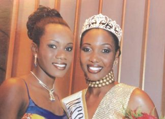 Brita Masalethulini (right) and a finalist from Ghana after the crowning moment