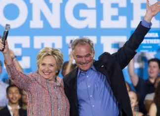"""Mrs Clinton said Senator Kaine has """"devoted his life to fighting for others"""""""