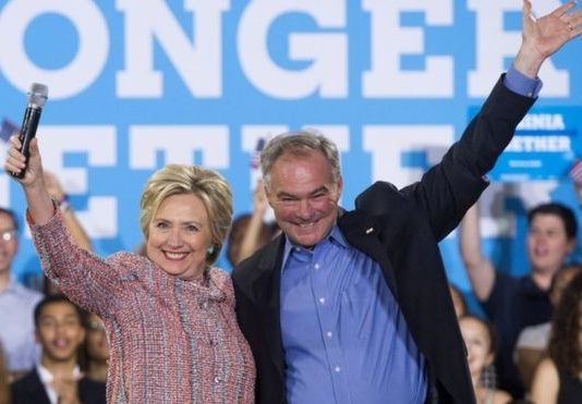 "Mrs Clinton said Senator Kaine has ""devoted his life to fighting for others"""