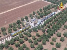 Several carriages were completely destroyed in the collision on a single-track line near Andria