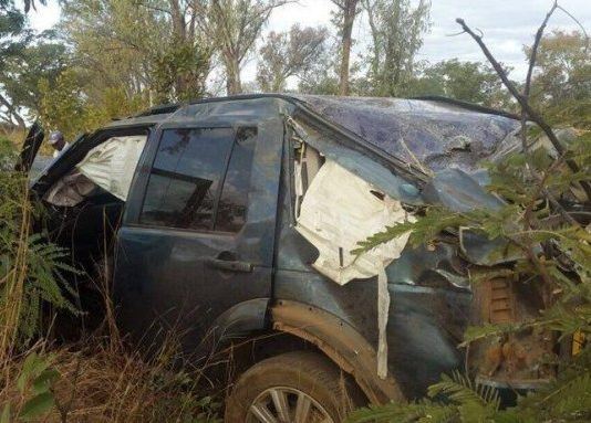 A Zimbabwean government minister survived a near-fatal crash when one of the wheels of his car came off, causing the vehicle to roll on Sunday. Photo: Twitter / @GKMwa