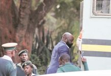Zanu PF Bikita West legislator Munyaradzi Kereke boards a Zimbabwe Prisons and Correctional Services truck on his way to prison following his conviction and sentencing for rape yesterday. —(Picture by Innocent Makawa)