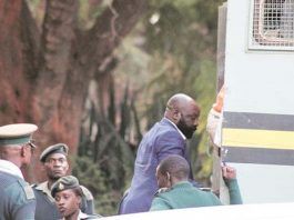 Zanu PF Bikita West legislator Munyaradzi Kereke boards a Zimbabwe Prisons and Correctional Services truck on his way to prison following his conviction and sentencing for rape yesterday. —(Picture by Innocent Makawa)