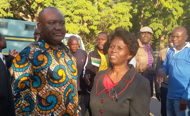 Harare Mayor Bernard Manyenyeni (left) soon after his release