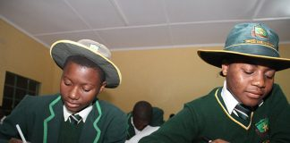 Students from Mutendi Mission high school during an evening study
