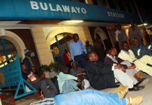 NRZ workers during sleep-in protest at the main railway station in Bulawayo last year