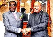 Robert Mugabe pictured here with Jacob Zuma