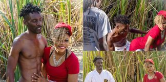 Raunchy dancer Zoey Sifelani and entertainer Brown Sugar on the set of their controversial Muzvambarara video