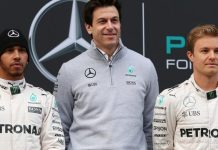 """Mercedes boss Toto Wolff (centre) has said the collision between Lewis Hamilton and Nico Rosberg in Austria was """"brainless"""""""