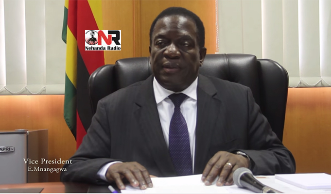 Vice President Emmerson Mnangagwa addressing journalists at his offices