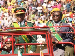 File Picture: President Robert Mugabe seen here with army chief Constantine Chiwenga