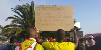 Tajamuka protesters and other Zimbabweans are calling for Mugabe and his administration to vacate office. Photo: Carla Bernardo
